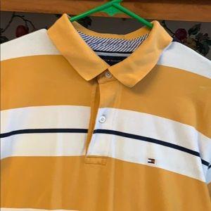 Tommy Hilfiger mustard navy cream polo